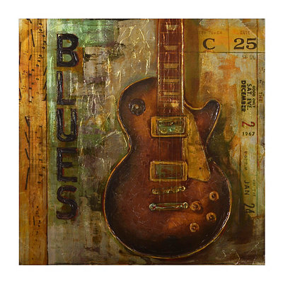 Memphis Blues Guitar Canvas Art Print