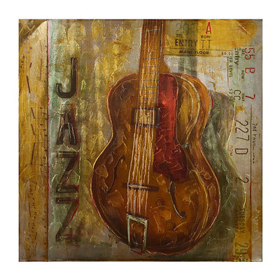 New Orleans Jazz Guitar Canvas Art Print
