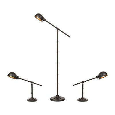 Bronze Pharmacy Floor and Table Lamps, Set of 3