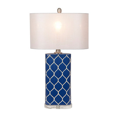 Navy and White Geometric Table Lamp