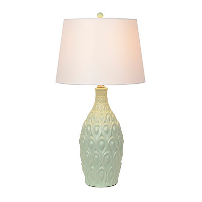 Spa Blue-Green Embossed Ceramic Table Lamp