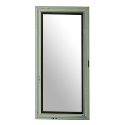 Distressed Aqua Framed Mirror, 13.75 x 27.5