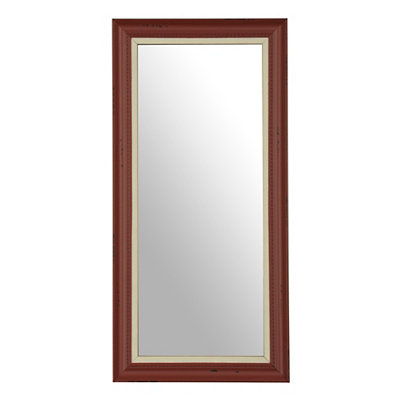 Farmhouse Red Framed Mirror, 13x27