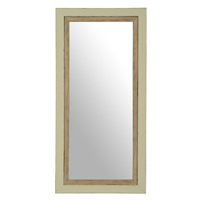Distressed Mint-Gray Framed Mirror, 13x27