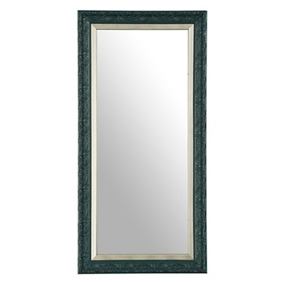 Embossed Peacock Blue Framed Mirror, 13x27