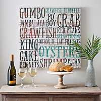 Creole Food Typography Canvas Art Print
