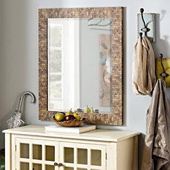 Brown Wood Blocks Framed Mirror, 28x34 in.