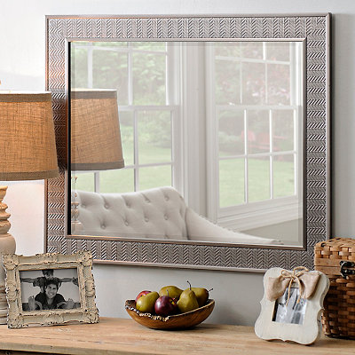 Silver Herringbone Framed Mirror, 28x34 in.