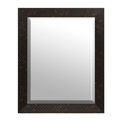 Tortoise Diamond Weave Framed Mirror 27.5 x 33.5