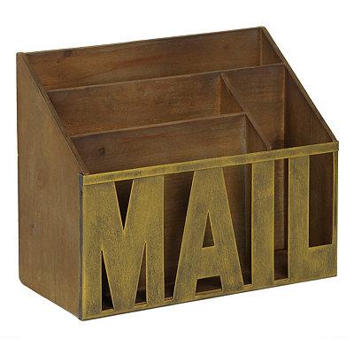 Distressed Wood & Metal Mail Organizer