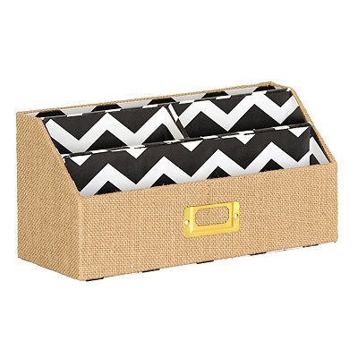 Burlap and Chevron Letter Sorter