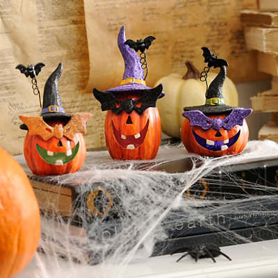Masked LED Jack O' Lanterns, Set of 3