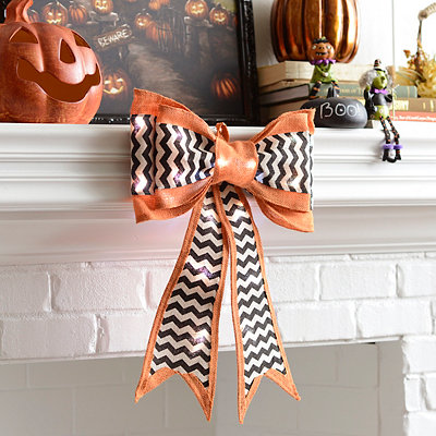 Pre-Lit Orange Chevron Burlap Door Bow
