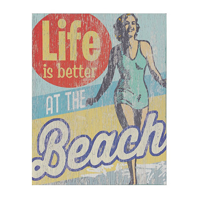 Retro Life is Better at the Beach Wooden Plaque