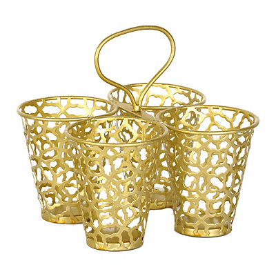 Gold Quatrefoil Metal Caddy