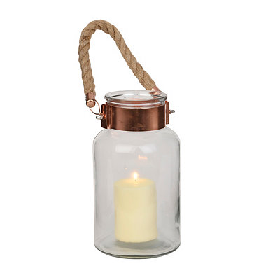 Clear Copper Rim Glass Lantern