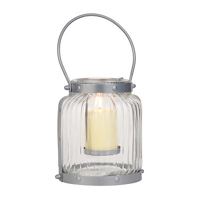 Gray Ribbed Glass Lantern