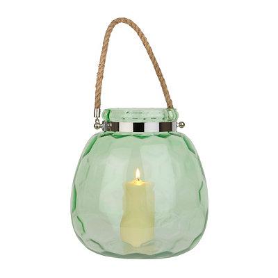Hammered Green Glass Lantern