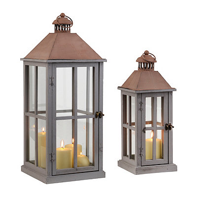 Cape Cod Gray Lanterns, Set of 2