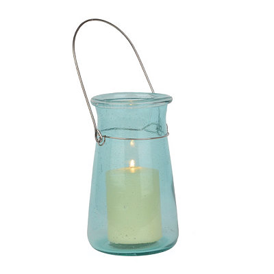 Milos Turquoise Bubble Glass Lantern