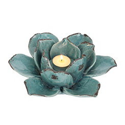 Distressed Aqua Flower Tealight Candle Holder