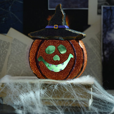 Glittery Orange LED Jack O' Lantern