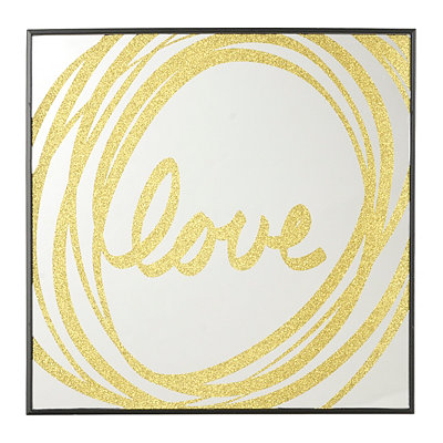 Gold Glitter Love Mirror Plaque