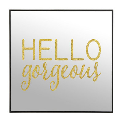 Gold Glitter Hello Gorgeous Mirror Plaque