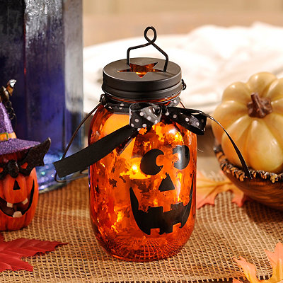 Jack O' Lantern Orange Mercury Glass Lantern