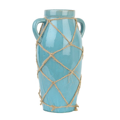 Aqua Netted Ceramic Vase