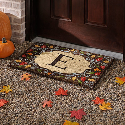 Monogram E Harvest Leaf Doormat