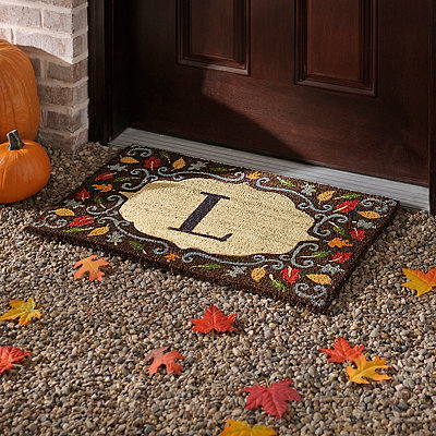 Monogram L Harvest Leaf Doormat