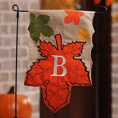 Monogram B Harvest Leaf Flag