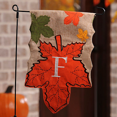 Monogram F Harvest Leaf Flag