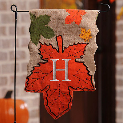 Monogram H Harvest Leaf Flag
