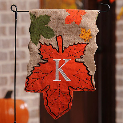 Monogram K Harvest Leaf Flag