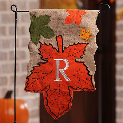 Monogram R Harvest Leaf Flag
