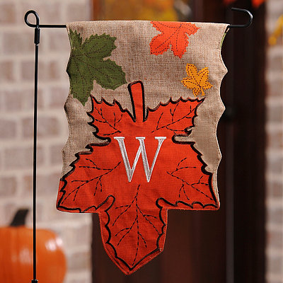 Monogram W Harvest Leaf Flag