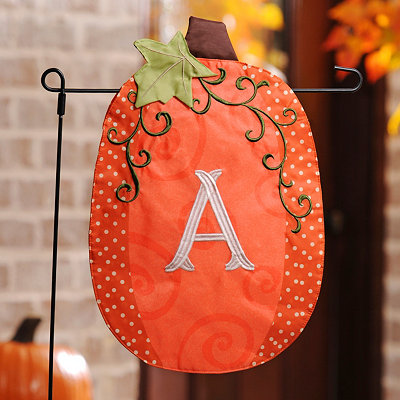 Stitched Monogram A Pumpkin Flag