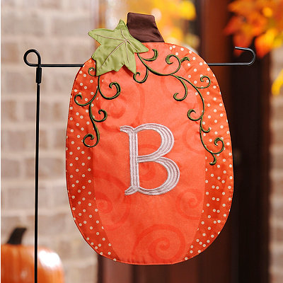 Stitched Monogram B Pumpkin Flag