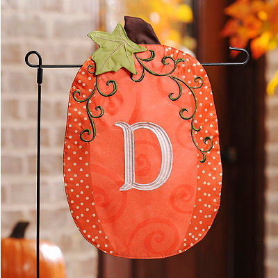 Stitched Monogram D Pumpkin Flag
