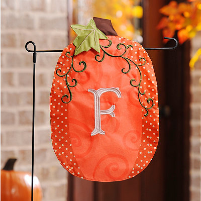 Stitched Monogram F Pumpkin Flag
