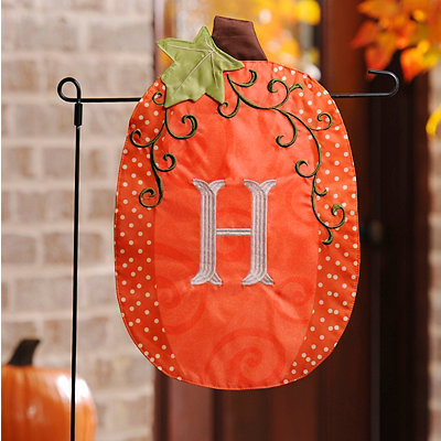 Stitched Monogram H Pumpkin Flag