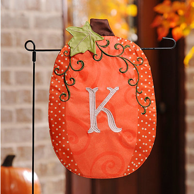 Stitched Monogram K Pumpkin Flag