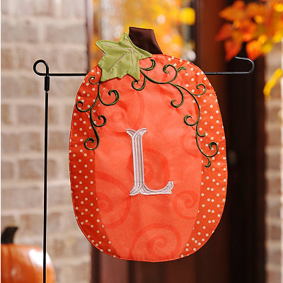 Stitched Monogram L Pumpkin Flag