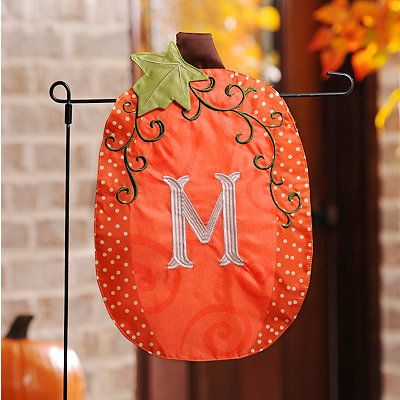 Stitched Monogram M Pumpkin Flag
