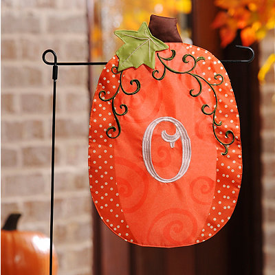 Stitched Monogram O Pumpkin Flag