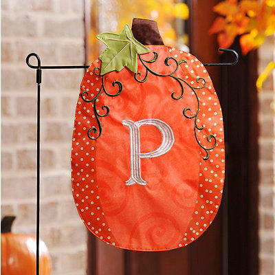 Stitched Monogram P Pumpkin Flag