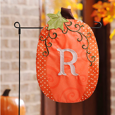 Stitched Monogram R Pumpkin Flag