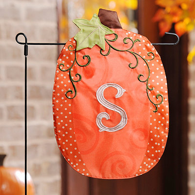 Stitched Monogram S Pumpkin Flag